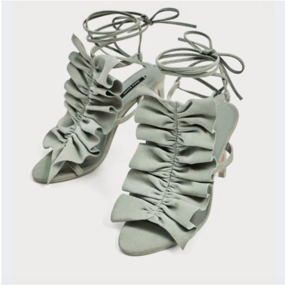 ffe7eb5c755f22 Zara Sky Blue Ruffled High Heel Leather Sandals